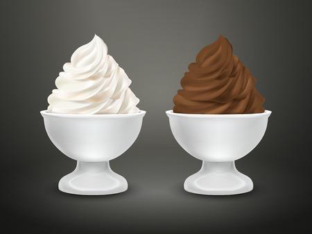 food container: envase de alimento blanco con crema de chocolate y helado de leche aislado m�s negro
