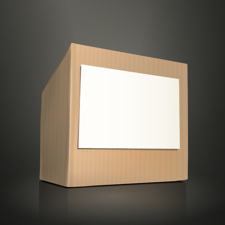 brown box: cardboard box with paper isolated on black background
