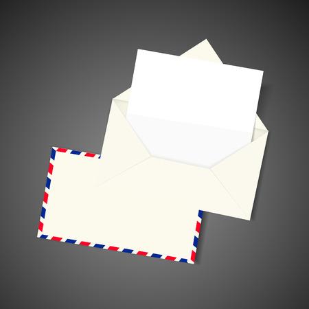 mailer: blank envelope and letter isolated on black background Illustration