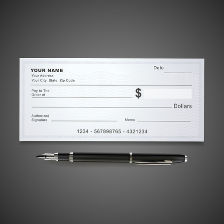 saving accounts: blank bank check template and pen isolated on black