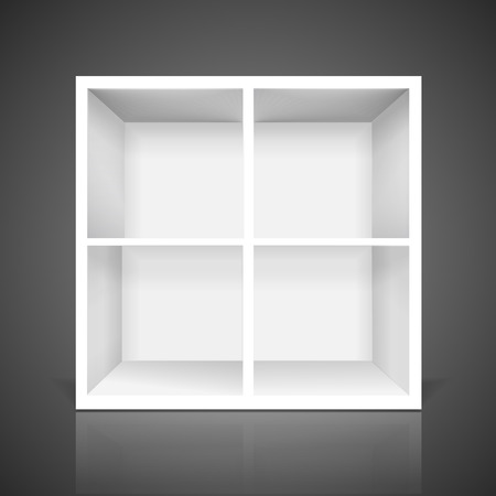 bookshelves: blank modern bookcase isolated over black background