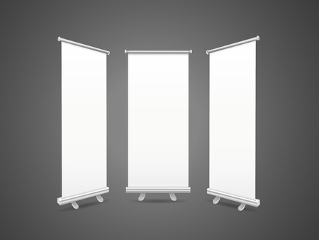pull up: blank roll up banners set isolated over black background