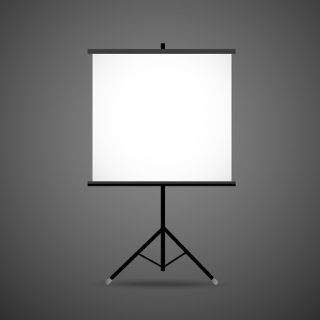 tripod projector: 3d blank projection screen template isolated on black background Illustration