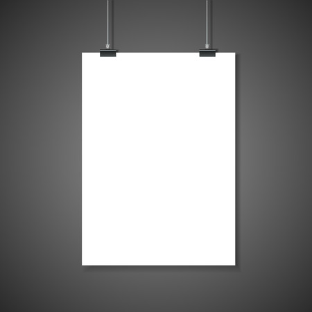 poster art: paper blank poster template hanging over wall Illustration