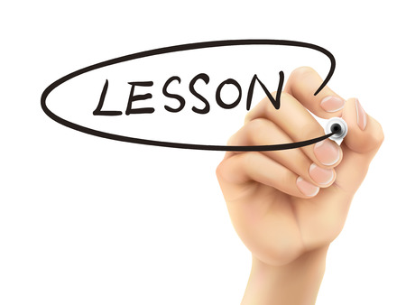 lesson word written by hand on a transparent board Vector