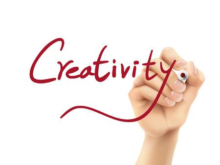 pensamiento creativo: creatividad palabra escrita a mano en un tablero transparente Vectores