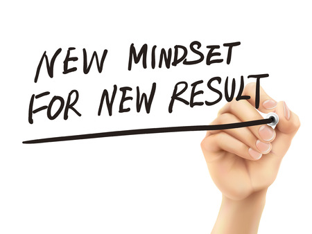 creativity concept: new mindset for new results words written by hand on a transparent board Illustration