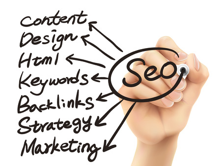backlink: SEO concept written by hand on a transparent board Illustration