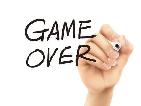 failed strategy: game over words written by hand on a transparent board