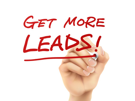 get more leads words written by hand on a transparent board Illustration