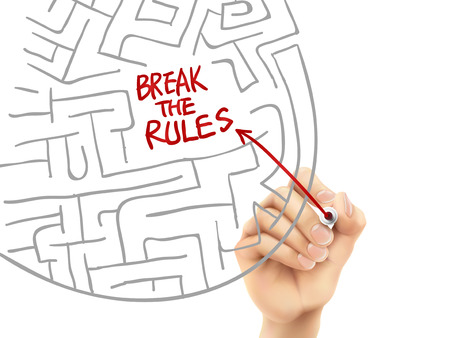 break the rules written by hand on a transparent board Vector