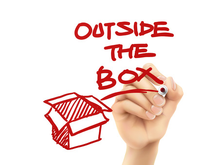outside: outside the box written by hand on a transparent board Illustration