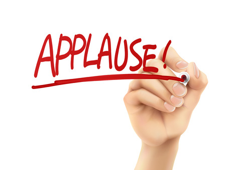 adulation: applause word written by hand on a transparent board Illustration