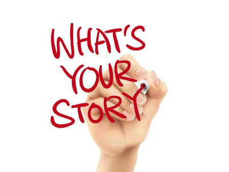 Cuál es su historia palabras escritas a mano en un tablero transparente Foto de archivo - 33638586