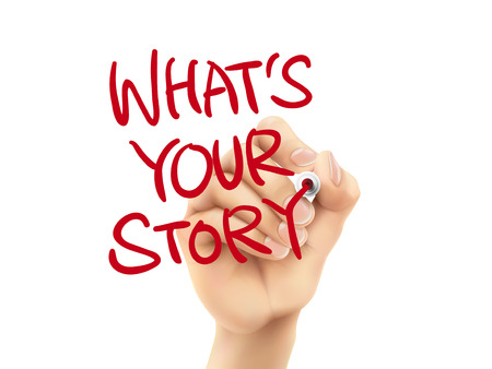 what is your story words written by hand on a transparent board