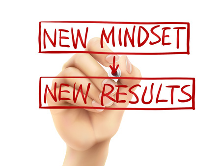 new mindset for new results words written by hand on a transparent board Illustration