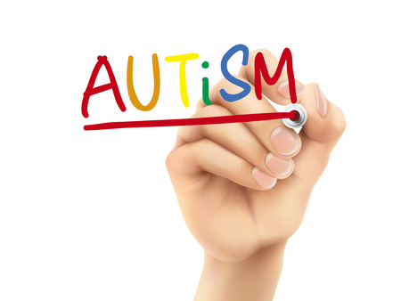 social awareness symbol: autism word written by hand on a transparent board