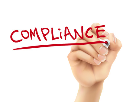 compliant: compliance word written by hand on a transparent board Illustration