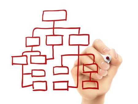 aziende: organigramma disegnato a mano su una tavola trasparente Vettoriali