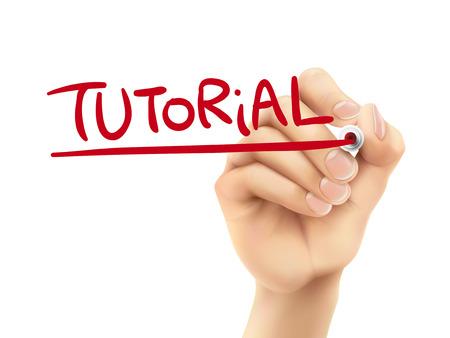 hand written: tutorial word written by hand on a transparent board