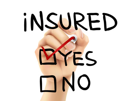 insured: yes insured words written by hand on a transparent board Illustration