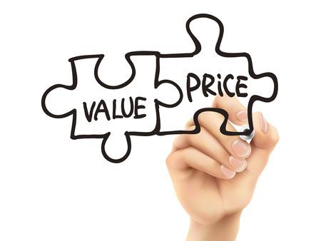 透明な基板上の手によって書かれた価値と価格の言葉