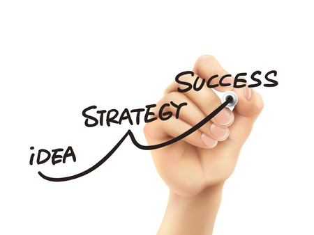 success strategy drawn by hand on a transparent board Vettoriali