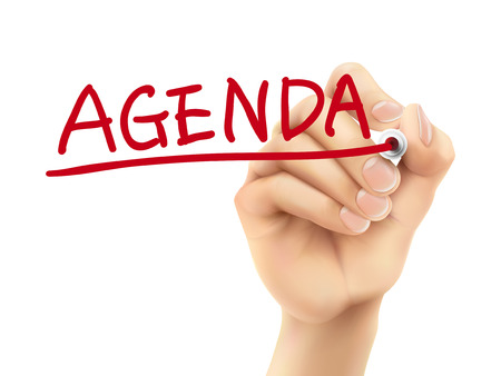 written: agenda word written by hand on a transparent board