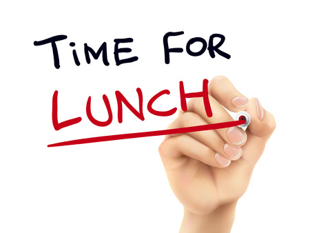 time for lunch words written by hand on a transparent board Vectores