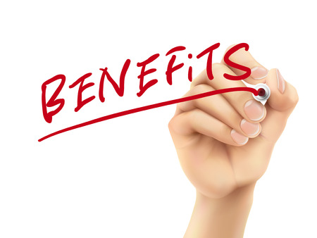 benefits word written by hand on a transparent board