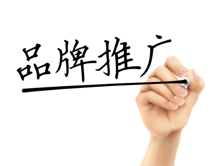 simplified Chinese words for Branding written by 3d hand on a transparent board