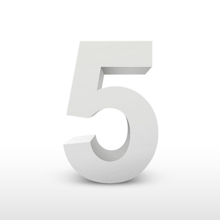 numbers background: white texture number five isolated over white background
