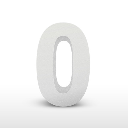 numerical value: white texture number zero isolated over white background