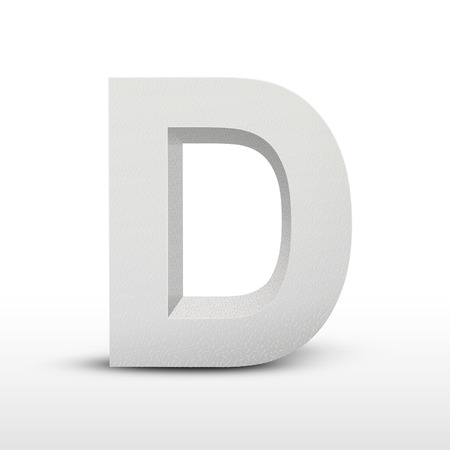 a d: white letter D isolated on white background