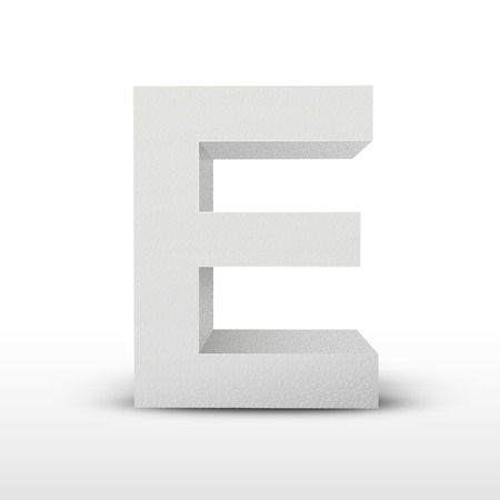 e alphabet: white letter E isolated on white background