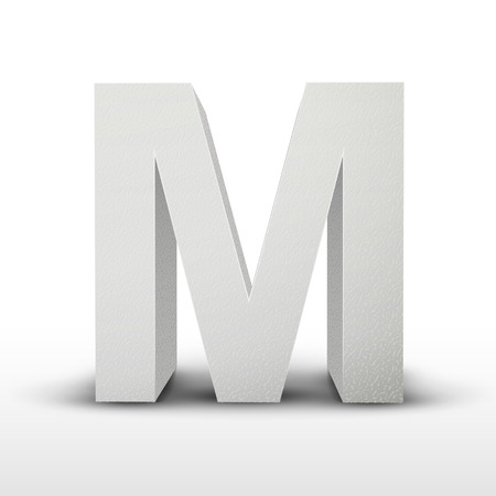 letter m: white letter M isolated on white background Illustration