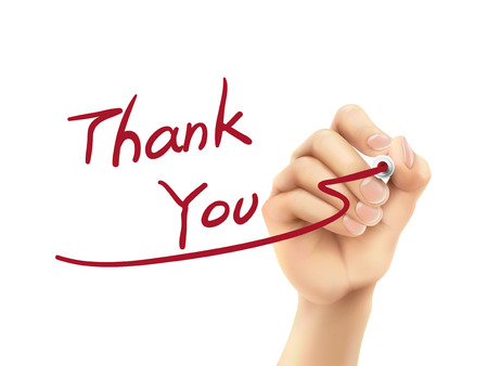 thank you words written by hand on a transparent board Vector
