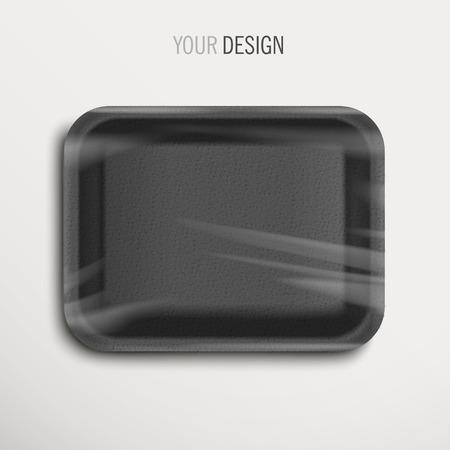 白い背景の上の空のラップされた黒い食品トレイ  イラスト・ベクター素材