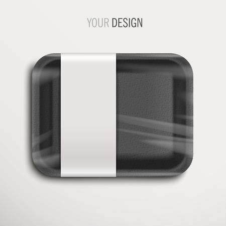 objetos cuadrados: bandeja de comida vac�a envuelta negro con etiqueta sobre fondo blanco