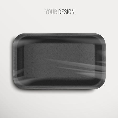 bandeja de comida: bandeja de comida vac�a envuelta negro sobre fondo blanco