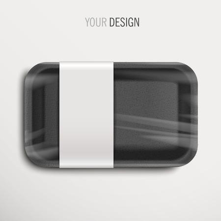 bandeja de comida: bandeja de comida vac�o envuelto negro con etiqueta sobre fondo blanco