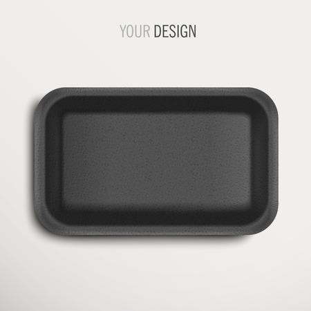 白い背景の上の空の黒い食品トレイ  イラスト・ベクター素材