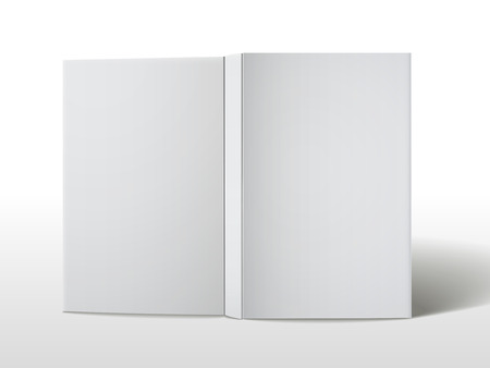 blank open book cover isolated on white background