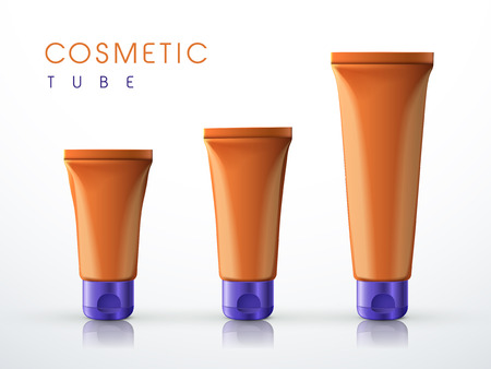 flexible business: cosmetic packaging tube set over white background