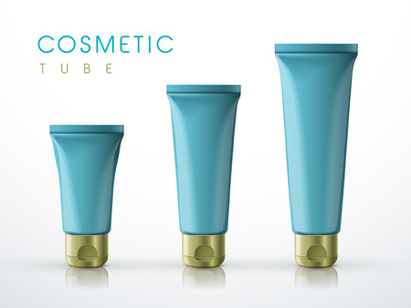 toothpaste tube: cosmetic packaging tube set over white background