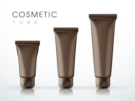 cream tube: cosmetic packaging tube set over white background