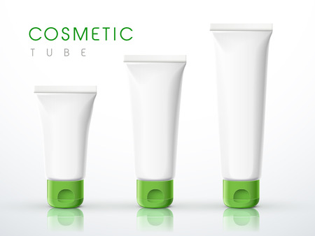 sunscreen: cosmetic packaging tube set over white background