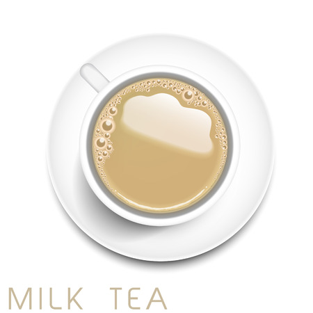 milk tea: top view of realistic milk tea isolated on white background Illustration
