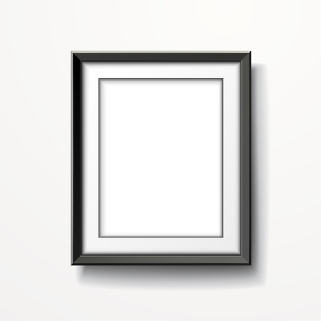 picture frame on wall: blank picture frame isolated on white wall
