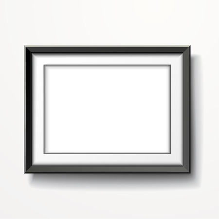 blank picture frame isolated on white wall Vector